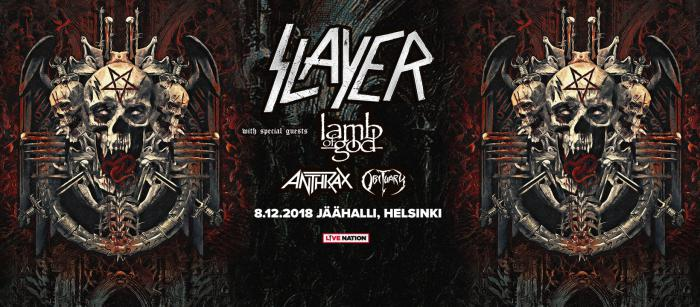 Концерт Slayer, Lamb Оf God, Anthrax, Obituary - Jaahalli, Хельсинки
